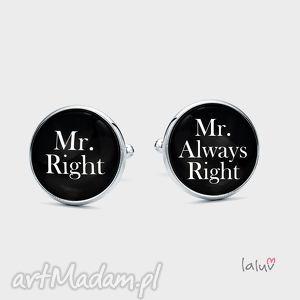 spinki do mankietów mr right - śmieszne, dowcipne, dowcip, racja, ślub