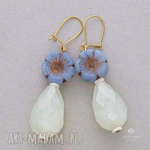 anemony z kroplą jadeitu, metal, szkło, kwiatek, kropla, jadeit