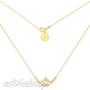 sotho złoty krótki naszyjnik z koroną wysadzaną kryształami