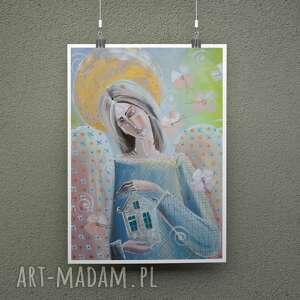 plakaty dom zastąpi cały świat, świat nie domu plakat, dom, anioł