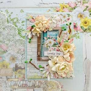 kwiecista kartka lovely day, w pudełku, kwiaty, wiosenna kartka, wiosna