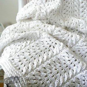 biały kocyk - kocyk, chrzest, bawełna, dziergany, ażur