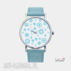 laluv zegarek z grafiką płatki śniegu, śnieg, zima, mróz, święta, prezent