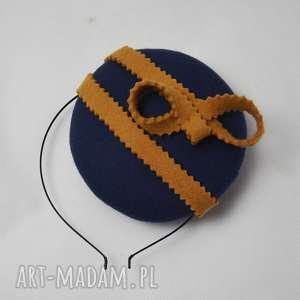 niebieska pomarańcza, toczek, filc, fascynator, niebieski, pomarańczowy ozdoby do