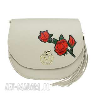 sztywna listonoszka torebka manzana beżowa z kwiatami, torebka, listonoszka, torba