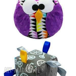 zestaw prezentowy dla niemowlaka - kostka, sensoryczna, rower, sowa, sówka, prezent
