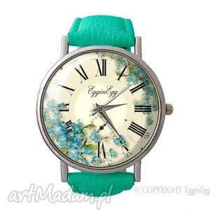 niezapominajki - skórzany zegarek z dużą, retro
