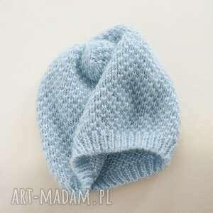 czapki czapka moherkowa niebieska, beret, moherowa, dziergana, prezent