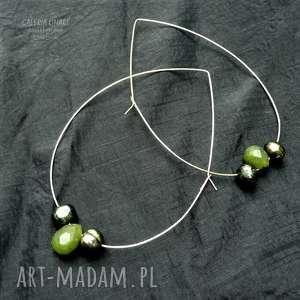 chryzopraz z naturalnymi perłami elegancko kolczyki hand made w stylu boho