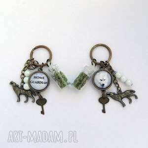 liliarts breloczek - biały wilk, opiekun domu, breloczek, klucze, opiekun, stróż