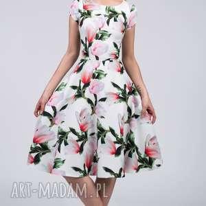 sukienka star midi pralinka, kwiaty, magnolie, midi, kieszenie, koło, rozkloszowana