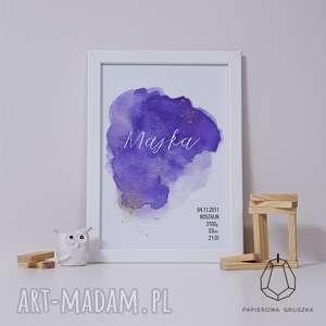 metryczka fioletowa akwarela - metryczka, plakat, obrazek, prezent, urodziny, chrzest
