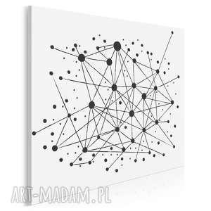 obraz na płótnie - minimalizm kropki linie w kwadracie 80x80 cm 34402