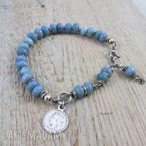 ręcznie wykonane opal naturalny z monetą - bransoletka 420