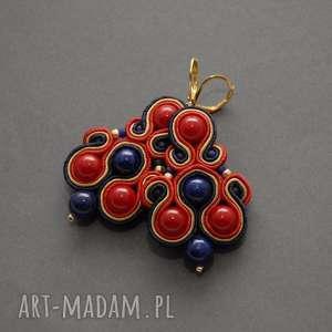granatowo-złoto-czerwone kolczyki sutasz, sznurek, wiszące, długie, granatowe