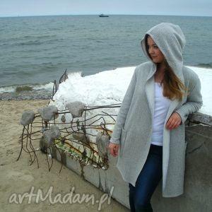 płaszcz swetrowy mela szary - płaszcz, sweter, szary, paski, kaptur, wiosna
