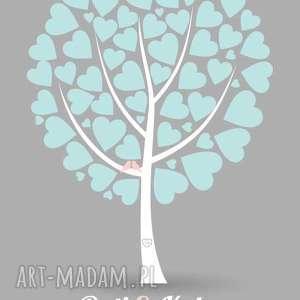 Plakat a4 - drzewo z serduszkami księgi gości kreatywne wesele