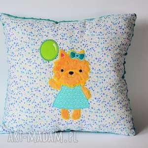 poduszka - piesek z balonem - poduszka, piesek, york, dziewczynka, urodziny, kolorowa