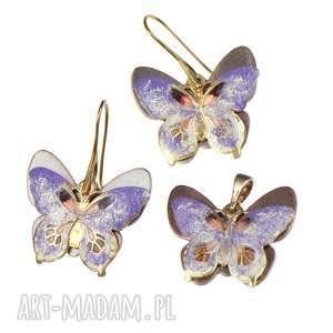 c239 komplet z motylami w odcieniach fioletu - komplet z motylami, kolczyki motyle