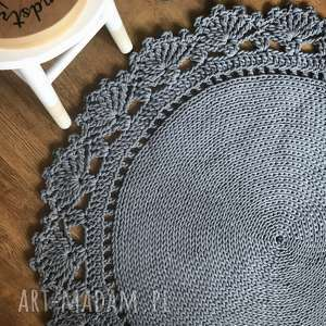dywan bawełniany z koronką dziergany z grubego sznurka 100cm - dywan, dywanik