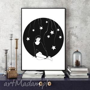 pod niebem pełnym gwiazd a4, grafika, a3, czarnobiały, kobieta, plakat plakaty