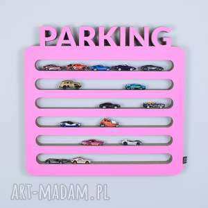 pokoik dziecka półka na resoraki, samochodziki parking różowy, chłopiec