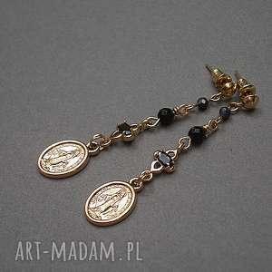 santa vol 3 /black/ 23 04 18 - kolczyki, sakralna, medalik, onyks, szafiry