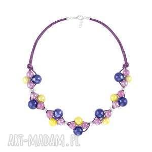 handmade naszyjniki naszyjnik - kobalt, żółty i fiolet