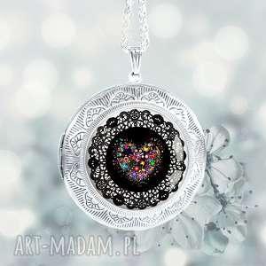 Prezent SERCE BOHO :: stylowy otwierany medalion na prezent, sekrernik, duży, srebrny