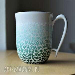 ciepliki kubek ceramiczny ręcznie malowany zielony ombre, kubek