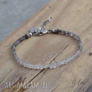 handmade bransoletki kwarc rutylowy i diamenciki z herkimer. srebrna bransoletka