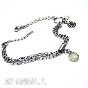 Oczko mint vol. 2 - bransoletka , agat, srebro, oksydowane, łańcuszki