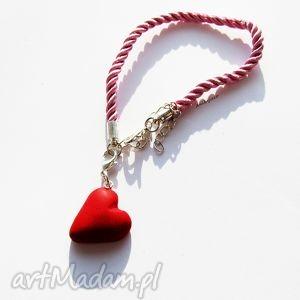 BRANSOLETKA czerwone serce, bransoletka, walentynki, serduszko, modelina, fimo