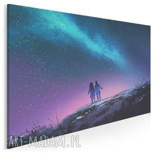 obraz na płótnie - para noc niebo 120x80 cm 21201, para, noc, niebo, gwiazdy