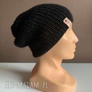 ręcznie robiona czapka hand made ściągacz 100 alpaka czarna, czapka, czapki