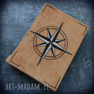 Notes A5 ze skórzaną twardą okładką i elastycznym grzbietem Kompas - ręcznie robiony