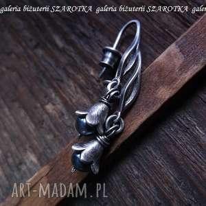 pereł czar długie kolczyki z kwiatkami, perła, naturalna, słodkowodna, srebro
