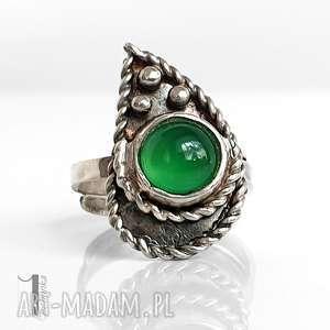 greenheart pierścionek z agatem brazylijskim, metaloplastyka, regulowany