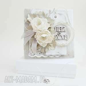 hand-made scrapbooking kartki mąż i żona - w pudełku