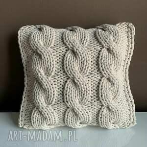 poduszka ze sznurka bawełnianego danusia 45x45 cm, poduszka, ręcznie