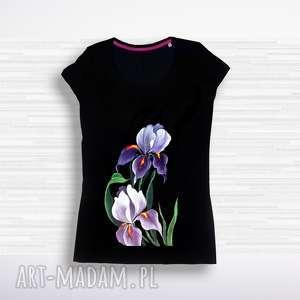 bluzka bawełniana z malowanymi kwiatami, bluzka, bawełna, kwiaty, irysy