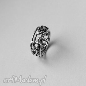 srebrna koronka - srebro, oksydowany, pierścionek, wirewrapping