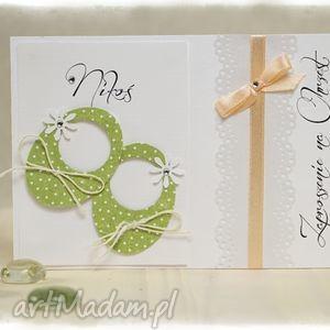 little shoes zielone - zaproszenia na chrzest święty, zielone, białe, ecru, buciki