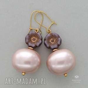 anemony z perłą jasnoróżową, sztyfty, metal, szkło, perły, kwiatek