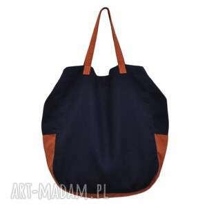 2a4cafbbf6a09 Torebki modny torba worek podarekwyprzedano 06-0004 granatowa torba worek  xxl na zakupy swallow maxi, duże, torebki,