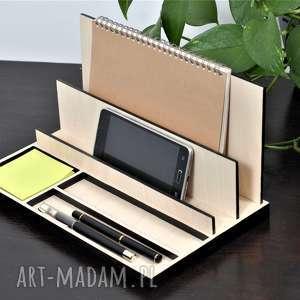 dekoracje organizer na biurko, drewniany, naturalny, przybornik biurko