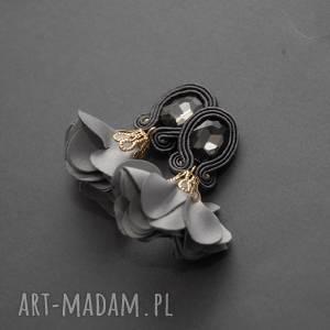 klipsy sutasz z kwiatkiem, sznurek, eleganckie, wiszące, wieczorowe, małe,