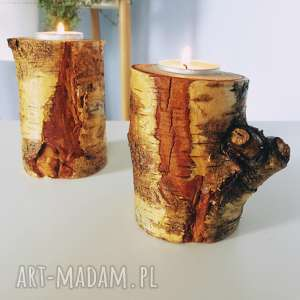 świeczniki drewno zestaw - ,świeczniki,drewno,drewniane,skanydnawskie,świeczka,eko,