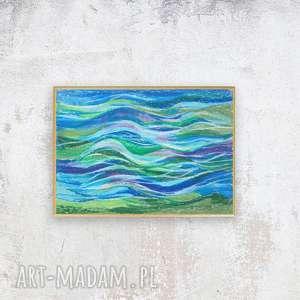 oprawiony obrazek morski, morze rysunek, rysunek z morzem, mały obraz