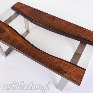 stoły stolik wimbi dąb szkło i stal nierdzewny - blat rzeka, industrialny